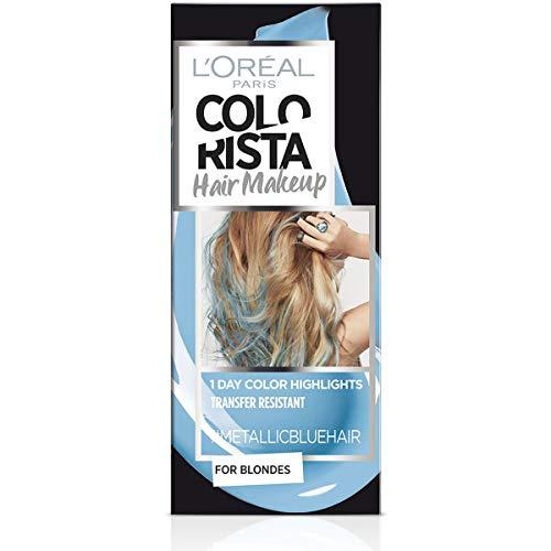 L'Oréal Paris Colorista Hair Makeup Colorazione Temporanea 1 Giorno per Ciocche e Punte, Tinta per Capelli Biondi, Meches Celeste Metallizzato, 30 ml