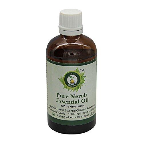 Olio Essenziale Neroli | Citrus Aurantium | Per pelle | Per corpo | Per viso | Olio da massaggio | 100% naturale puro | Distillato a vapore | Neroli Essential Oil |100ml | 3.38oz By R V Essential