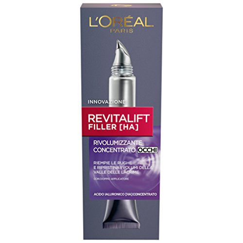 L'Oréal Paris Contorno Occhi Revitalift Filler, Azione Antirughe Rivolumizzante con Acido Ialuronico Concentrato, 15 ml