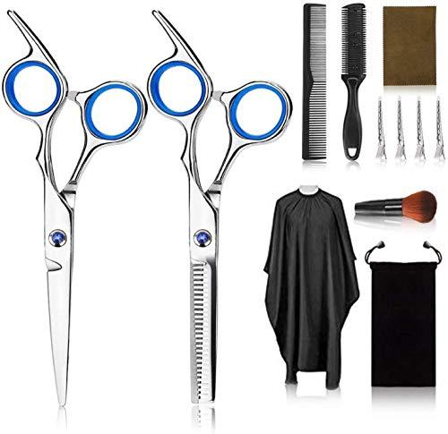 Kit di forbici professionali per parrucchiere, 12 set di parrucchieri con forbici pettine per capelli, mantello, forbici da taglio e diradamento, pettine a lama, frangia a clip, clip, pettine a coda