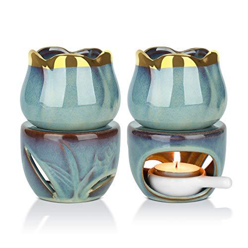 ComSaf Bruciatore Olio Essenze Ceramica, Diffusore di Oli Essenziali con Cucchiaio di Candela Set di 2, Removibile Bruciatore Candele Porcellana per Soggiorno Decorativo Ufficio Yoga Spa(Profondo Blu)