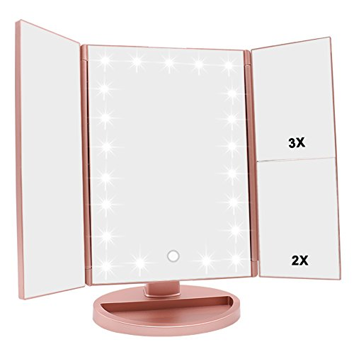WEILY Specchio di Vanity Trifold dello Specchio di Trucco Illuminato con l'ingrandimento di 1X/2X/3X, Le Notti Naturali del LED, Lo Schermo di Tocco, Lo Specchio caricabile (Oro Rosa)