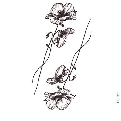 AVASTORE - Tatuaggio temporaneo da donna, motivo: papavero, colore: Nero