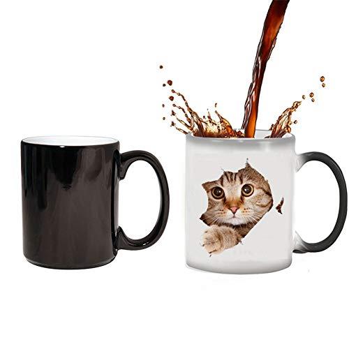 YDGHD - Tazza in ceramica per cambiare, con divertente gatto che cambia il calore, sensibile al calore, colore che cambia il colore, simpatico regalo di Natale per donne, (gatto)
