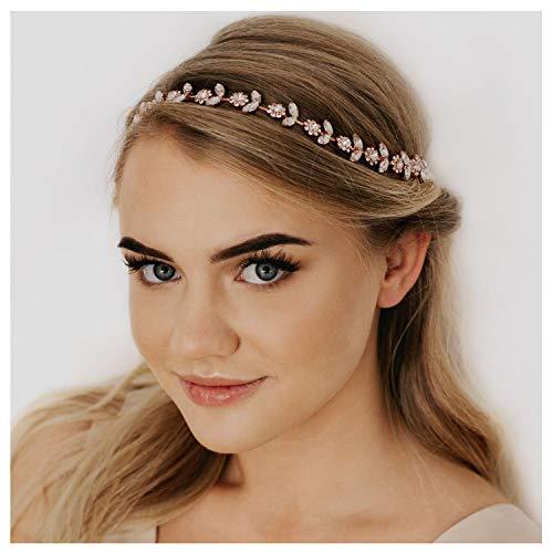 SWEETV accessori per capelli fasce di cristallo di nozze fascia per capelli accessori per capelli in cristallo da sposa, oro rosa