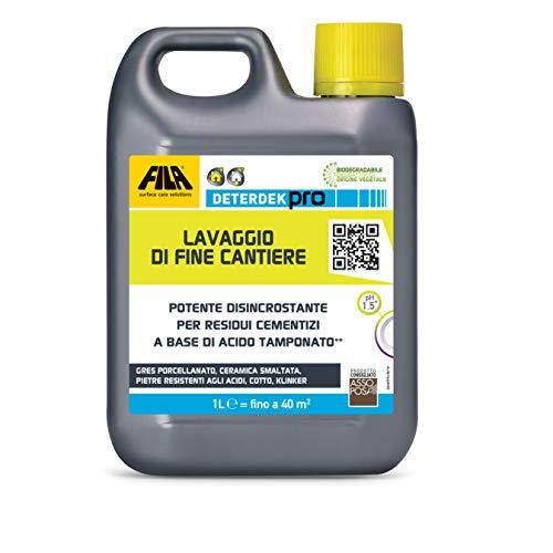 FILA Surface Care Solutions Deterdek PRO Detergente disincrostante Acido, rimuove i residui cementizi del Dopo Posa e Lo Sporco di fine Cantiere, 1L, 1 Litro