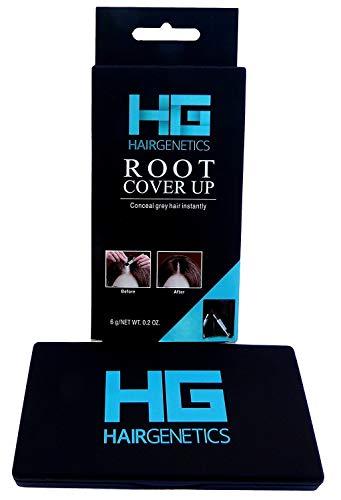 Hair Genetics Root Cover Up Ritocco Ricrescita Radici Professionale – Copre i Capelli Bianchi, Riempie le Sopracciglia - Resiste a più Lavaggi, Prodotto in Polvere, Per Uomo e Donna (Nero)