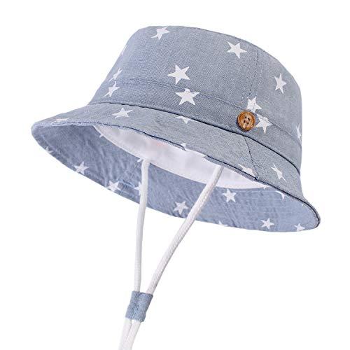 DRESHOW - Cappello parasole per bambini, con protezione solare UPF 50+, unisex, con animali, cappello da pescatore per l'estate con sottogola Stella Azzurro 6 mesi