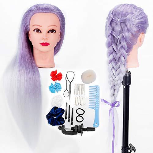 HLRM Testa parrucchiere 100% Sintetica, Testa per acconciature, Testa con Capelli da Truccare e Pettinare + Capelli Accessori