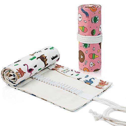 Comius Sharp 2 Pezzi Tela Sacchetto Della Matita Roll Up Pencil Pouch 72 Fori Tela Matita Wrap Astuccio, per Artista, Scuola, Ufficio, Studenti Cancelleria Stoccaggio (Stile 2)