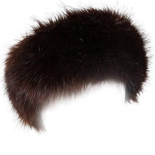FHQHTH Cerchietti e fasce per capelli in pelliccia sintetica con cappucci invernali elasticizzati elastici [marrone]