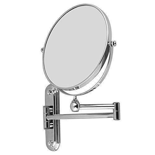 Specchio da Parete Trucco Bagno con Ingrandimento 10X , Doppia Faccia Rotazione 360 Gradi con Finitura Cromata, Silver, Diametro di 8 pollici, Braccio Estensibile per Trucco Confezione o Rasatura