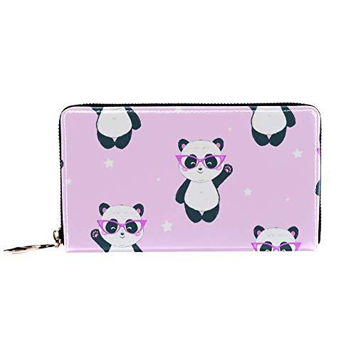 XCNGG Borsa in pelle Rosa Panda con occhiali Portafogli Porta carte Pochette con un sacco di tasche per donna Uomo Ragazze Ragazzi Piccolo portafoglio compatto Bifold