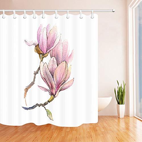 SRJ2018, Tenda da Doccia Dipinta a Mano, con Fiori di Magnolia, 12 Ganci, 183 x 183 cm