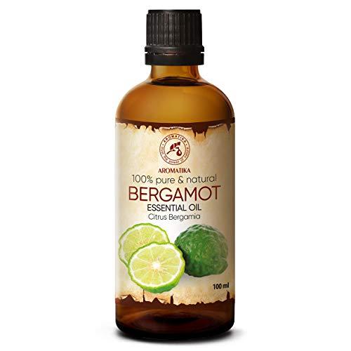 Olio Bergamotto 100ml - Citrus Bergamia - Aromaterapia - Olio Essenziale di Bergamotto Puro 100% - Cura della Pelle & Capelli - Diffusore - Sauna - Relax - Pulizia della Casa