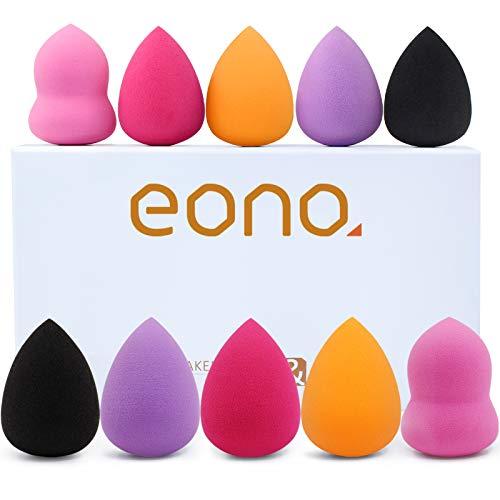 Amazon Brand – Eono Set spugne per trucco 10 pezzi Blender Beauty Foundation Blender Sponge, spugna per fondotinta multicolore non in lattice per fondotinta, set professionale bellezza