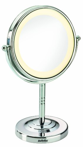 BaByliss 8435E Specchio Luminoso, Rotondo, Ingrandimento Double Face x 5