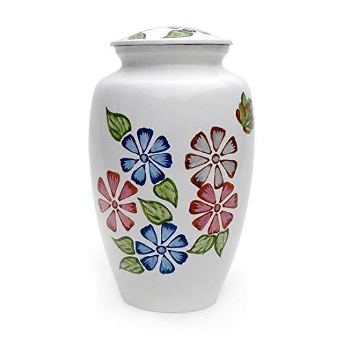 Blossom fiori smalto bianco finitura adulto urna per ceneri