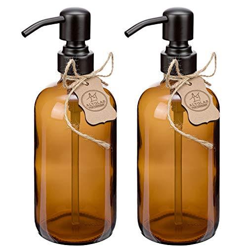 2 Pezzi di Dispenser per sapone liquido 'Sarajevo' in vetro marrone, bottiglia di vetro da 500 ml, per sapone liquido e lozioni con testa a pompa in acciaio inox in colore nero opaco