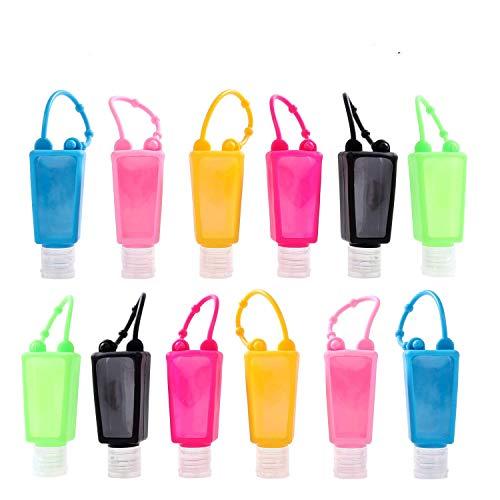 Bottiglie da viaggio in plastica (12 pezzi) 30 ml contenitore liquido a prova di perdite con tappo ribaltabile perfetto per scuola, viaggi, attività all'aperto, campeggio