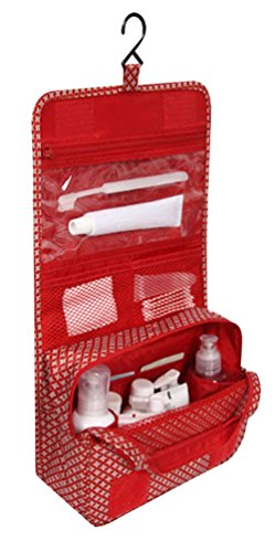 Beauty Case Da Viaggio Donna Make Up Beautycase Da Appendere Cosmetici Toilette Borsa Pieghevole Organizer Trucco Borse Morbido Uomo Ragazza Trousse Makeup Kit Viaggio Pochette Rosso
