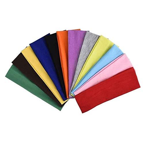 LEBQ 12 Pezzi Fascia Capelli Cerchietti Capelli Allungare Elastici Yoga Cotone Colori Misti per Adolescenti, Ragazze e Donne