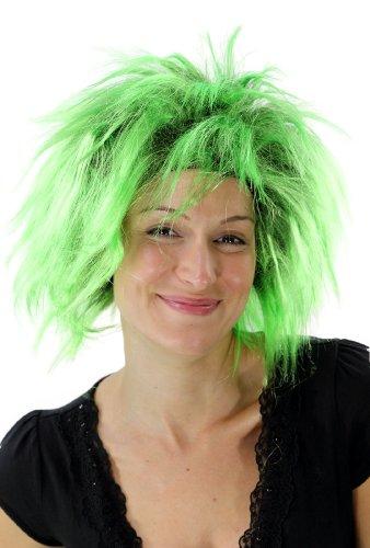 WIG ME UP - Parrucca Carnevale Punk Anni 80 Colore Nero-Verde Nuova PW0078-P103PC15