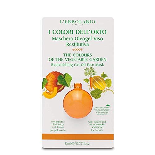 L'Erbolario Maschera Oleogel Viso Restitutiva I Colori dell'Orto Per pelli secche, con estratti e oli di Zucca e di Carota 8 ml