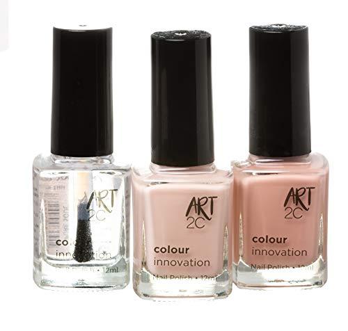 Art 2C, Colour Innovation - Set da 3 smalti per unghie classici, 3 x 12 ml - 3 colori Nude