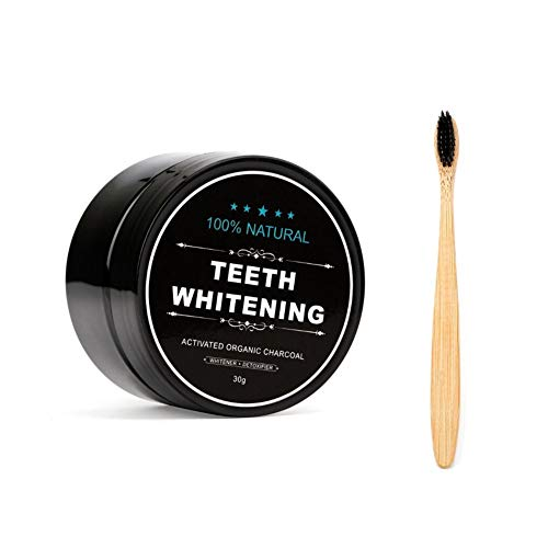 Carbone Attivo Denti,Charcoal Powder, FOXTSPORT Sbiancante Denti Carbone Attivo Naturale Teeth Whitening Powder 30g + Bamboo Spazzolino da Carbone