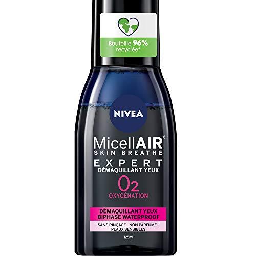 NIVEA MicellAIR SKIN BREATHE Expert struccante Biphase (2 x 125 ml), detergente viso e occhi sensibili, struccante waterproof arricchito con estratto di tè nero