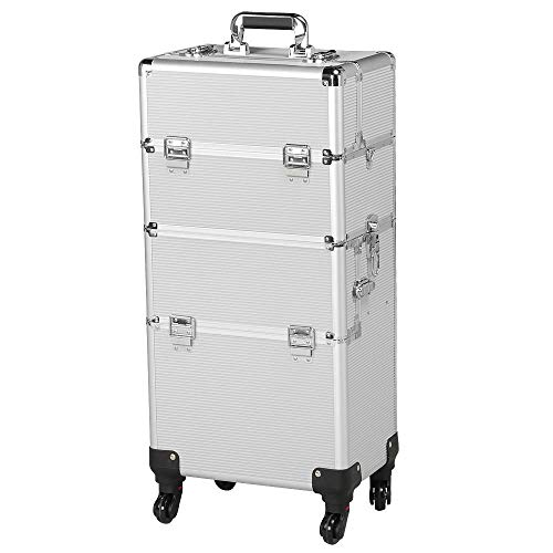 Yaheetech Trolley Trucco Professionale Valigia Trucchi Telaio in Alluminio Beauty Case Make Up da Viaggio per Estetista Professionale con 4 Ruote Girevoli 36 x 24 x 78 cm Argento