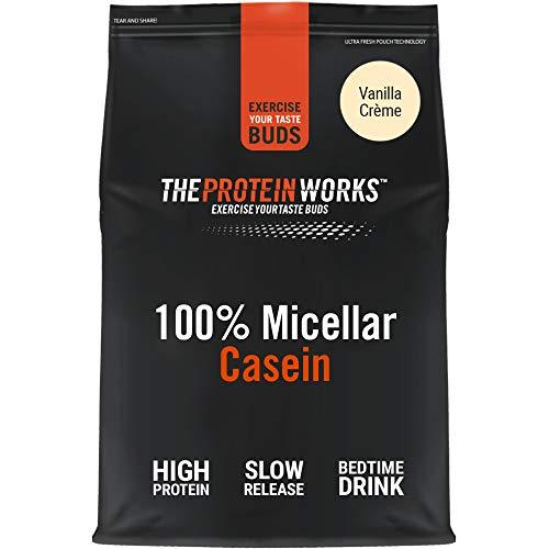 Caseina Micellare 100% Proteine In Polvere THE PROTEIN WORKS | Frullato Proteico A Rilascio Lento | Aminoacidi | Supporta Il Recupero | Crema alla Vaniglia | 500g