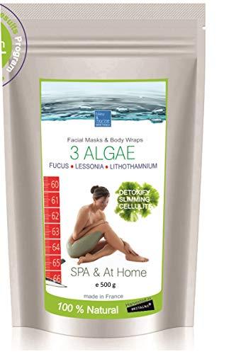Fanghi alle 3 Alghe Rimodellanti - polvere ● Maschera Viso (per acne, eczema e foruncolosi), Corpo (perdita di peso, ridurre la cellulite), Gambe, Bagno 500 g
