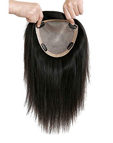Susanki 100% capelli veri veri capelli umani topper per capelli da donna con capelli diradanti, 15,2 x 17 cm, top in seta con clip, 30,5 cm, marrone scuro