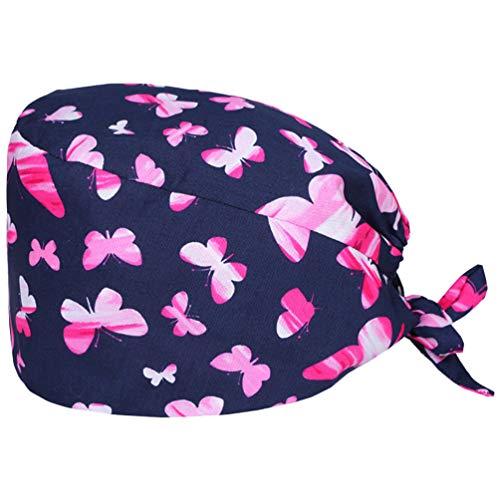 TENDYCOCO Copricapo in Cotone con Stampa di Farfalle Cappello da Lavoro Cappello da Lavoro in Cotone per Donne con Capelli Lunghi