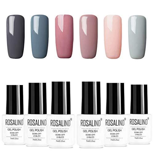 ROSALIND Set Smalto Gel UV Per Unghie Semipermanente Combinazione di Colori Nudi Soak Off Varnish Nail Art Design Ricostruzione Completo Decorazioni 7ml