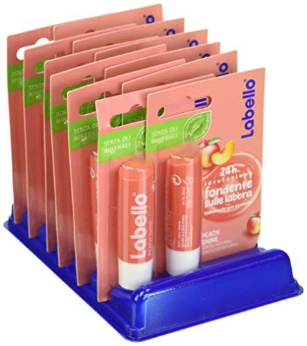 Labello Peach Shine, Balsamo Labbra per Labbra Morbide e Idratante, Aroma di Pesca, Pacco da 12 Pezzi