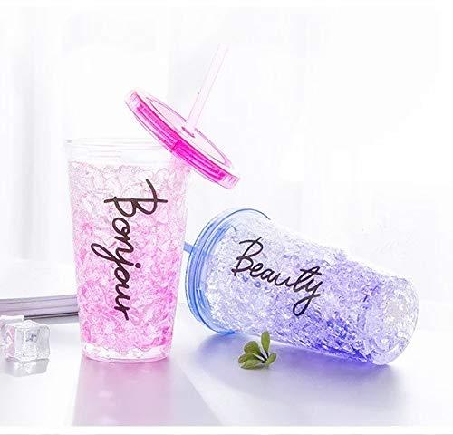 ML Bicchiere da ghiaccio a doppia parete con coperchio e cannuccia (acrilico, riutilizzabile), senza BPA, non necessita di ghiaccio per bevande ghiacciate, colore lilla (fucsia) 450 ml