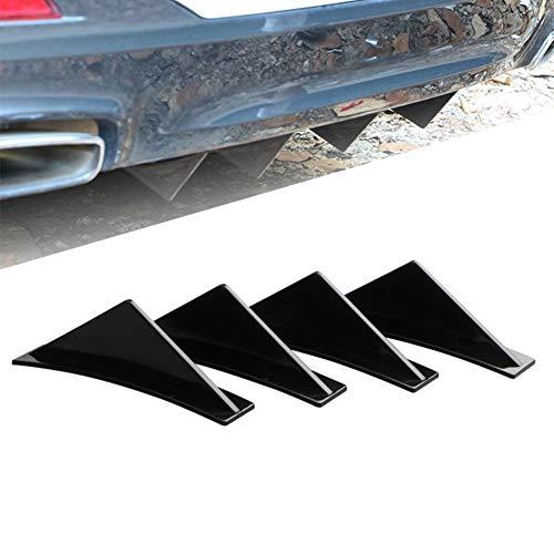 Iriisy 4 Pz Paraurti Posteriore per Auto SUV Nero Universale a Labbro Spoiler Diffusore Pinna di Squalo ala Splitter