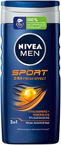 Nivea Men Sport Doccia (250 ml), Gel doccia rivitalizzante e nutriente con minerali, doccia rinfrescante per uomini attivi.