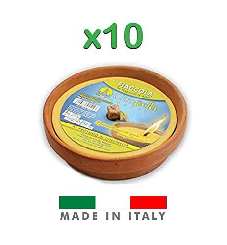 Palucart Candela citronella Candele per Esterno in coccio di Terracotta 11 cm Set da 10 Pezzi Giardinaggio antizanzare Feste ed Eventi