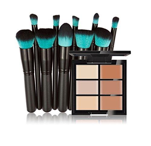 FantasyDay® Pro 6 Colori Correttore Makeup Palette da Trucco Contouring Concealer Fondotinta in Crema Cosmetico Camouflage Palette + 10PCS Spazzole di Trucco Set Pennelli #2