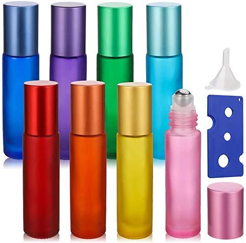 Opopark 8 Pezzi 10 ml Bottiglie di Rullo di Oli Essenziali Ricaricabili Bottiglie di Vetro Smerigliato con Sfera per Aromaterapia e Profumo