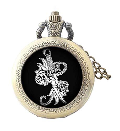 Elf House Old School tatuaggio spada e fiori dipinti su sfondo nero illustrazione orologio da tasca, elegante orologio da tasca in vetro