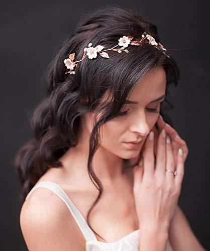 Unicra Sposa Capelli da sposa Vite Fiore Fascia Perla Copricapo Accessori per capelli da sposa per donna (Oro rosa)