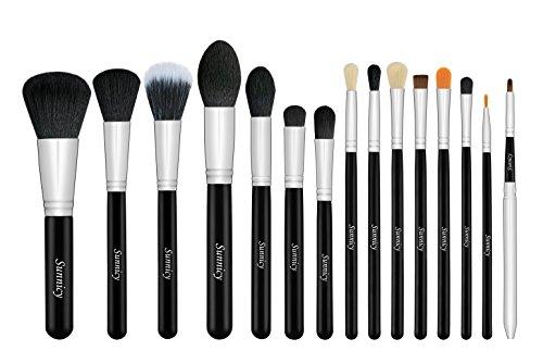 Set da 15 pennelli professionali per make-up, tra cui pennello per ombretto, pennello per fard, pennello per correttore, pennello per labbra, pennello per sopracciglia (Nero)