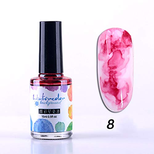 Teekit 1 Pcs DIY Ink Ink Nail Polish Gel sbocciante Smoke Smudge Varnish Manicure,8