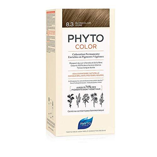 Phyto Phytocolor 8.3 Biondo Chiaro Dorato Colorazione Permanente senza Ammoniaca, 100 % Copertura Capelli Bianchi