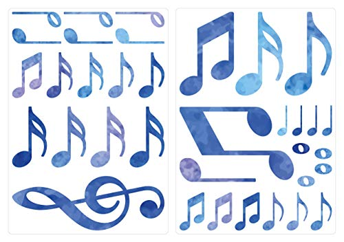 dekodino® Adesivo murale acquerello note musicali in blu 35 pezzi set